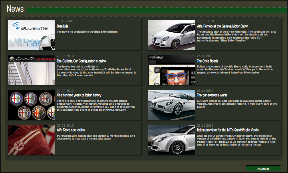 Screenshot do Site Alfa Romeo