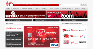 Screenshot da Virgin.com